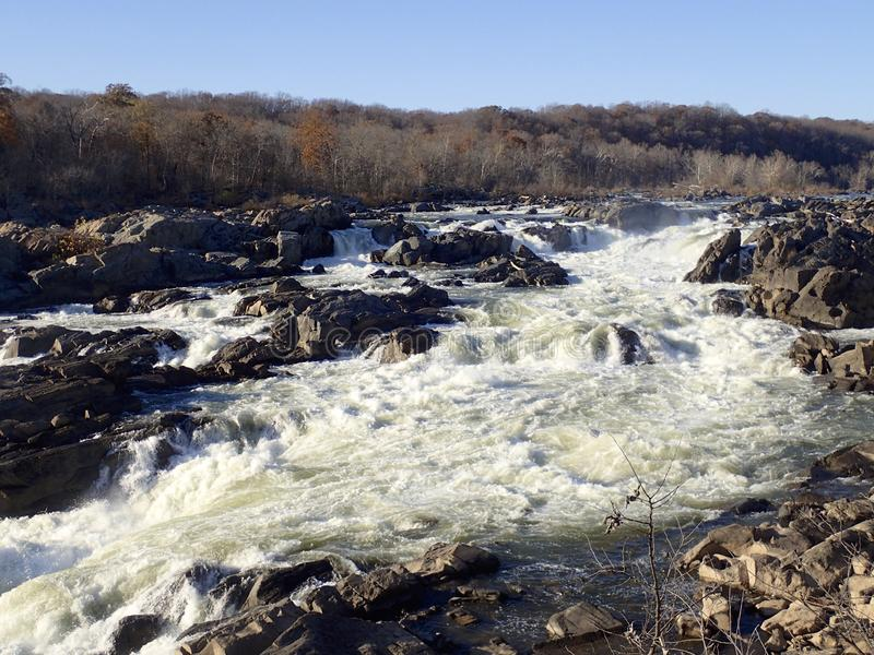 Great Falls, Potomac Rivier stock afbeelding