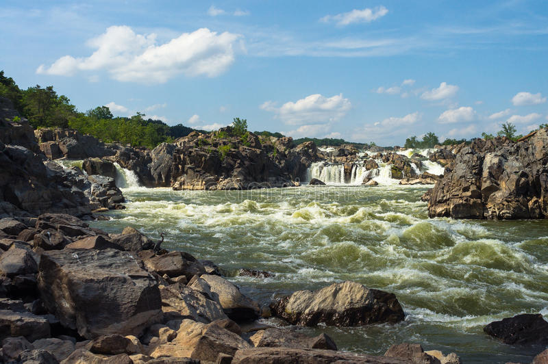 Great Falls Rapids. Detail of rapids at Great Falls Park stock photo