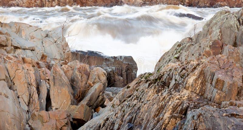 Great Falls Washington bij schemer royalty-vrije stock afbeeldingen