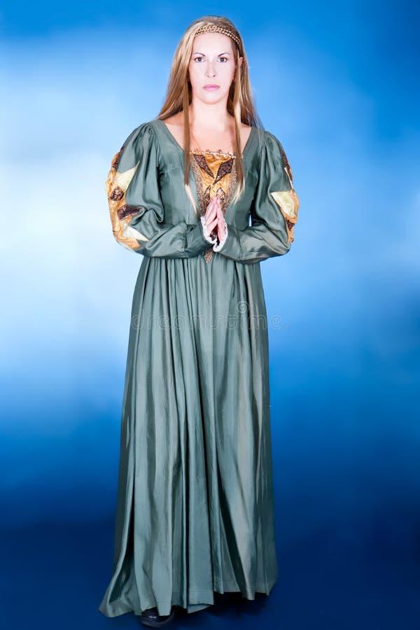 Great fancy-dress wonan in Renaissance style. Great fancy-dress woman in Renaissance style, studio shot stock image