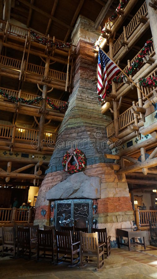 The Great Fireplace at Wilderness Lodge royalty free stock photo