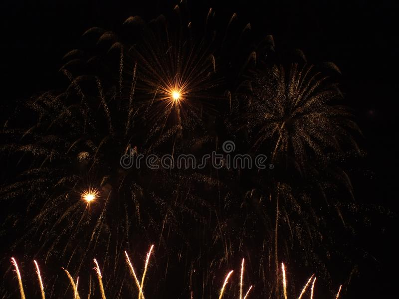 Great Fireworks in the night. Great night show of fireworks stock photo