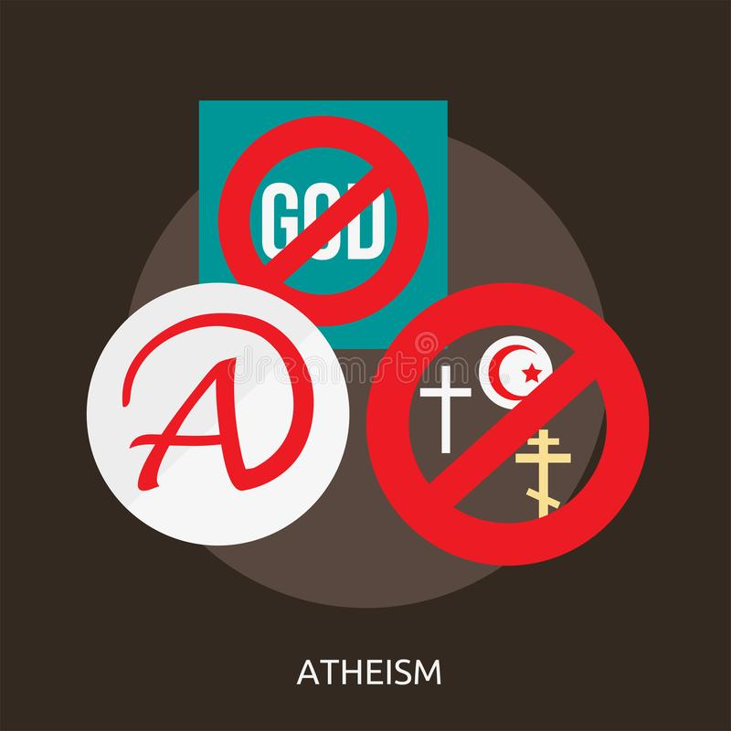 Atheism conceptual design. Great flat icons with style long shadow icon and use for celebration, religion, event and much more stock illustration