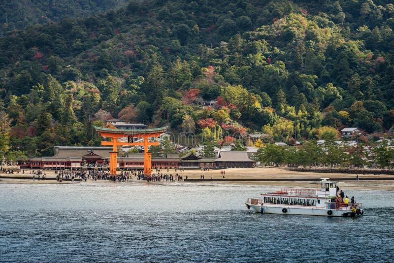 Great floating gate (O-Torii) on Miyajima island near Itsukushim. A shinto shrine, Japan stock photography