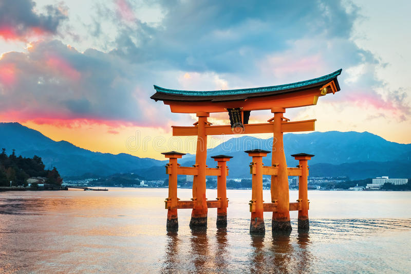 Great floating gate (O-Torii) on Miyajima island royalty free stock photos