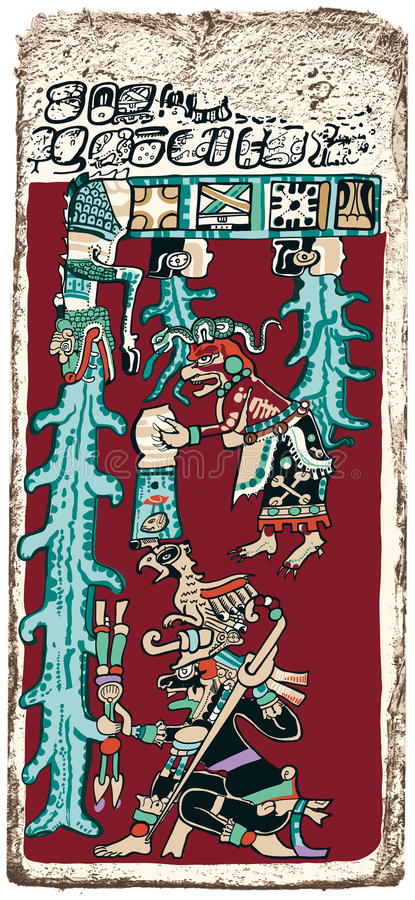 Great Flood Maya Prophecy. Papyrus of the Dresden Maya Codex predicting the Great Flood, Doomsday. Hand drawn illustration of one page of the oldest and best royalty free illustration