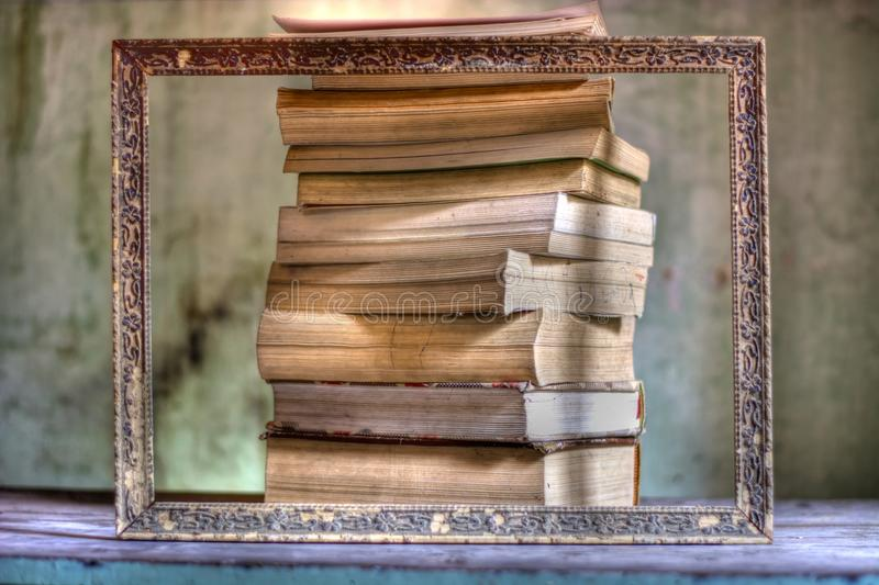A great frame, culture and all the books in the world. Literature books and all novels of love stock photography