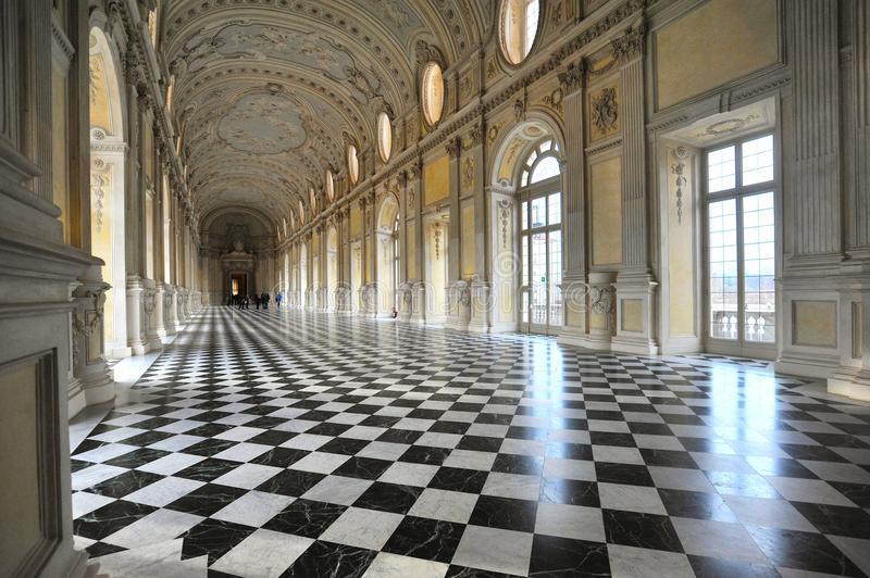 The Great Gallery in the Reggia di Venaria Reale declared World Heritage Site by UNESCO monumental royal palace Venaria Italy royalty free stock image