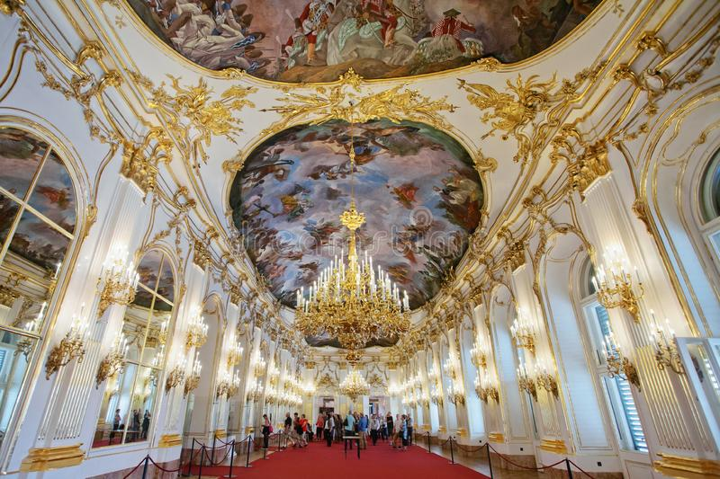 Great Gallery of Schonbrunn Palace, Vienna royalty free stock photo