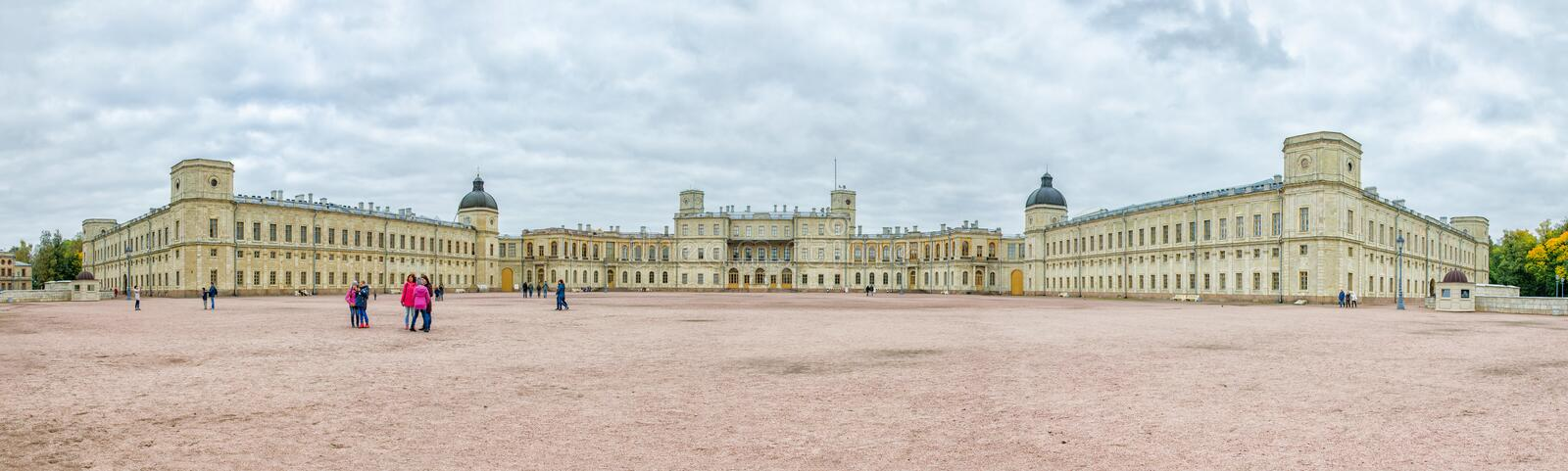 The Great Gatchina Palace. Front panorama view. stock photo