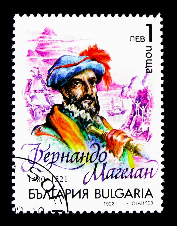 Great geographical discoveries, Ferdinand Magellan, People serie, circa 1992. MOSCOW, RUSSIA - MARCH 18, 2018: A stamp printed in Bulgaria shows Great royalty free stock photography