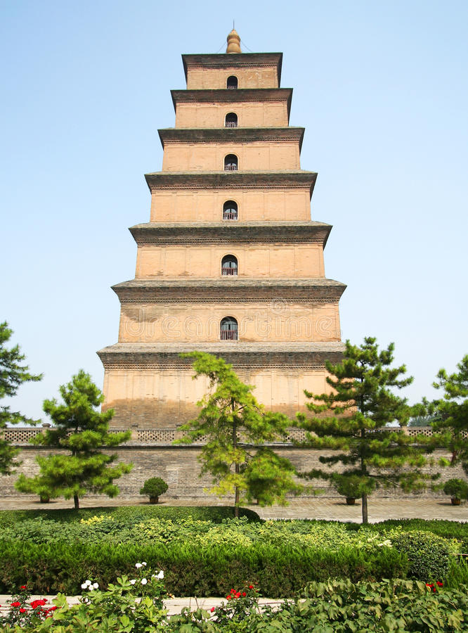 The Great Goose Pagoda. A Park View of the Great Goose Pagoda, Xi'an, China royalty free stock photography