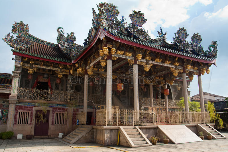 A great grand majestic clan temple Khoo Kong Si. Front view of a beautiful and grand clan temple at Penang with traditional chinese craftsmanship roof stock image