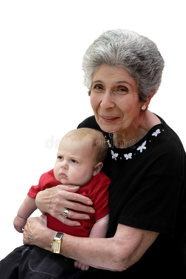 Great-grandmother sorridente e great-grandchild facente il broncio immagine stock