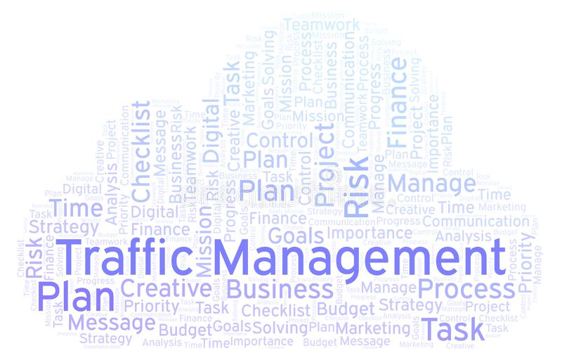 Traffic Management Word Cloud, Made With Text Only  Stock
