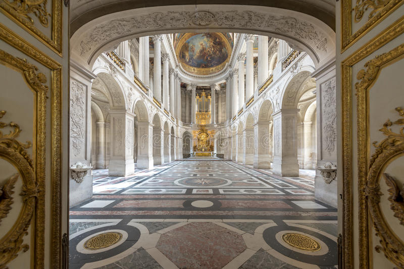 Great Hall Ballroom in Versaille Palace. Versaille Palace and surrounding gardens is are on the UNESCO World Heritage List. In Paris, France stock images