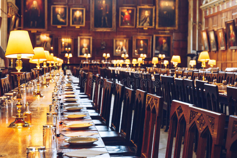 The Great Hall of Christ Church, University of Oxford. Table set at The Great Hall of Christ Church, University of Oxford. The Hall was replicated at film stock images