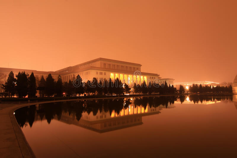 The Great Hall of the people in the night, Beijing royalty free stock photography