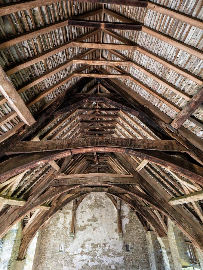 The Great Hall Roof Timbers at Stokesay Castle, Shropshire, England. stock photos