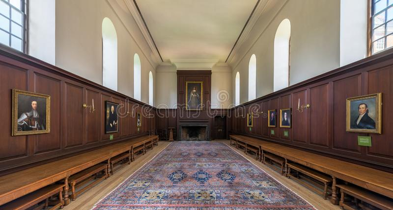 The Great Hall in the Wren Building. The Great Hall inside the historic Wren Building West End of Duke of Gloucester Street on the campus of the College of royalty free stock images