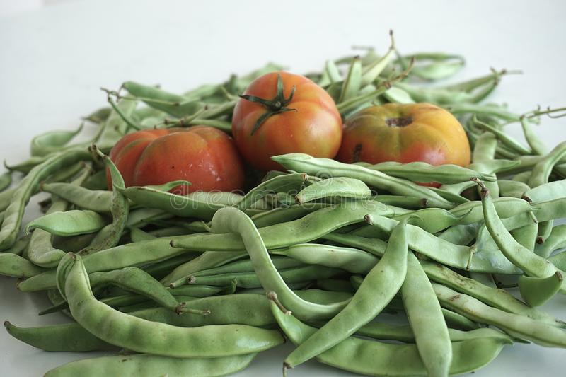 Great harmony of red tomatoes and green beans. The perfect harmony of red tomatoes and green beans ready to cook for our healthy meals royalty free stock photos
