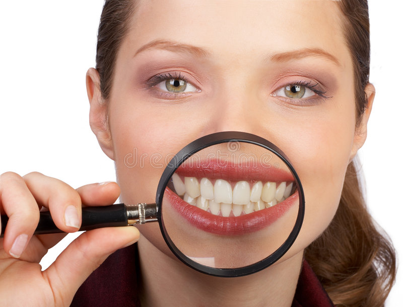 Great healthy teeth. Smile and teeth of a beautiful young woman royalty free stock photo