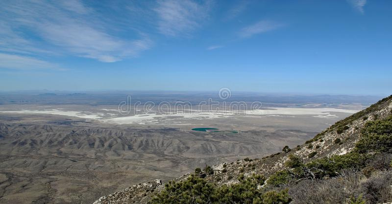 Great hiking day: Scenic panoramic view from Guadalupe Peak into the wide texas landscape. Beautiful landscape / distinctive mountains and dry deserts in Big royalty free stock photos