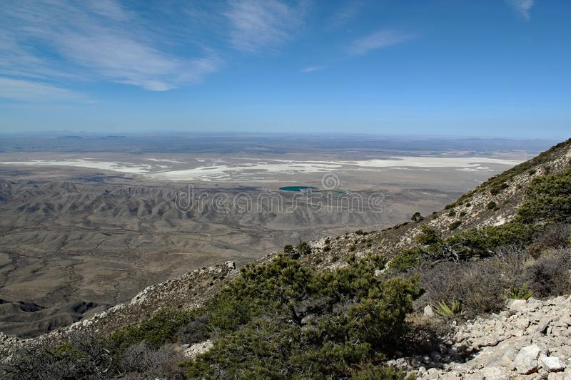 Great hiking day: Scenic panoramic view from Guadalupe Peak into the wide texas landscape. Beautiful landscape / distinctive mountains and dry deserts in Big royalty free stock images