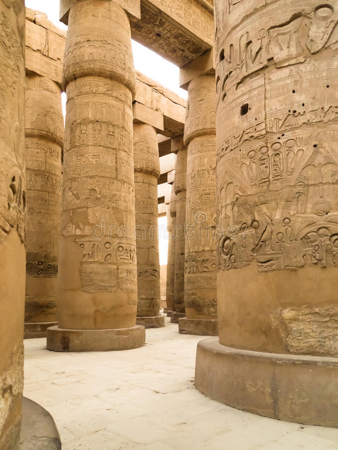 Great hypostyle hall of Karnak Temple stock image