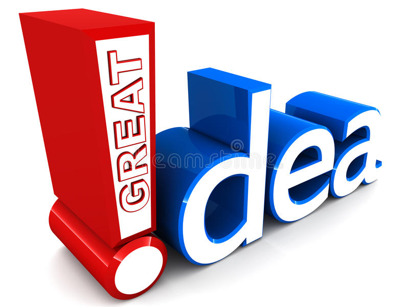 Great idea. Words great idea written in a unique way, in red and blue colors, over white background vector illustration