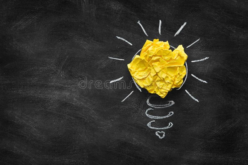 Great idea concept, crumpled paper on the chalkboard stock photos
