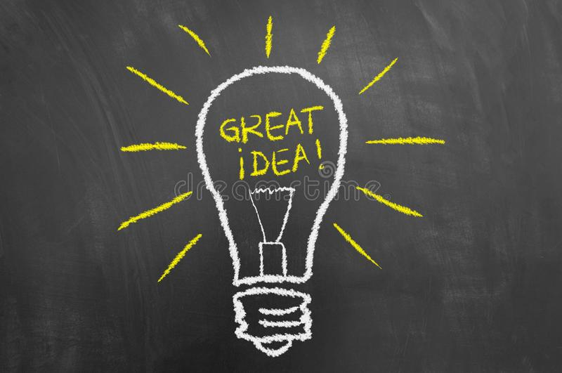 Great idea light bulb chalk drawing on chalkboard or blackboard vector illustration