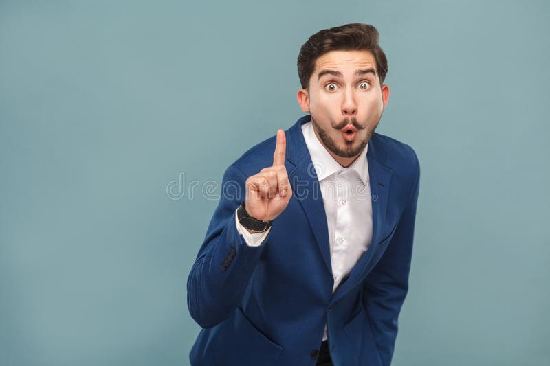 Great idea! Success man finger up and have cool idea royalty free stock image