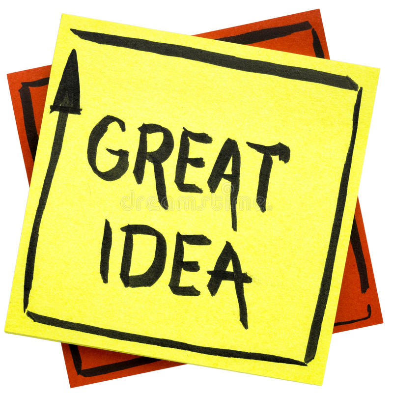 Great idea text on sticky note. Great idea - handwriting in black ink on an isolated sticky note stock image