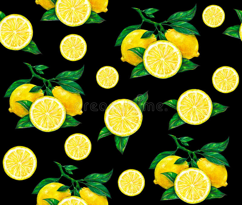 Great illustration of beautiful yellow lemon fruits on a black background. Water color drawing of lemon. Seamless pattern royalty free illustration