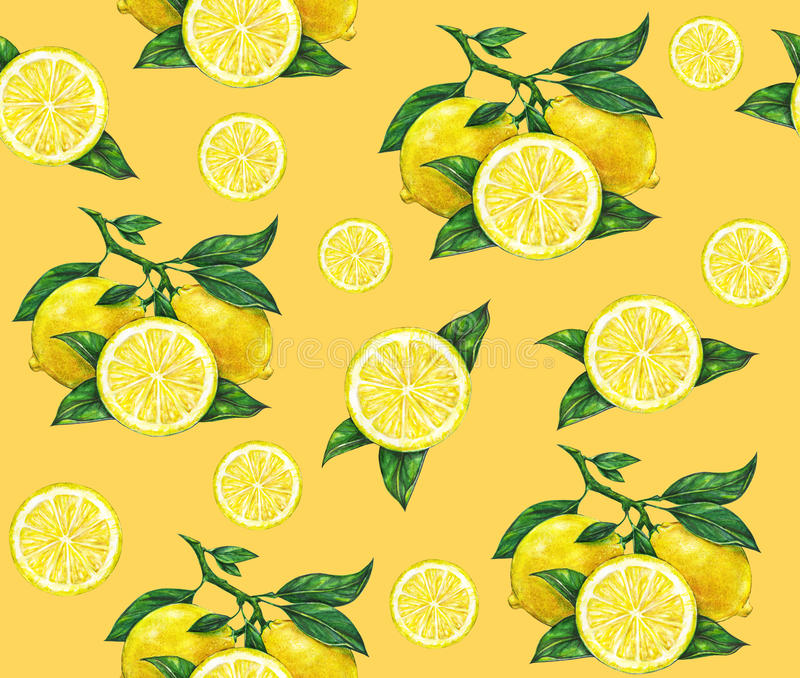 Great illustration of beautiful yellow lemon fruits on an orange background. Water color drawing of lemon. Seamless pattern royalty free illustration