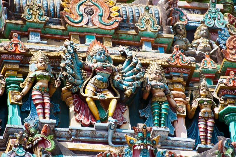 Gods pantheon at Hindu Temple. South India stock photo