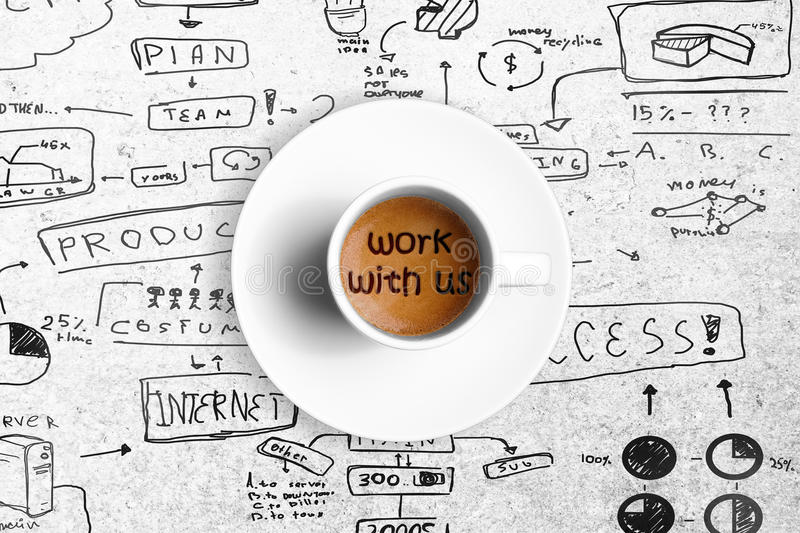 Great italian espresso coffee in a white cup with word work with us, team work concept. Top of view of great italian espresso coffee in a white cup with word stock images