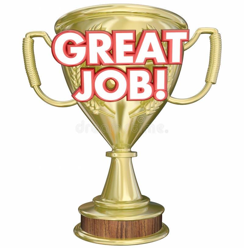 Great Job Performance Recognition Trophy. 3d Illustration vector illustration