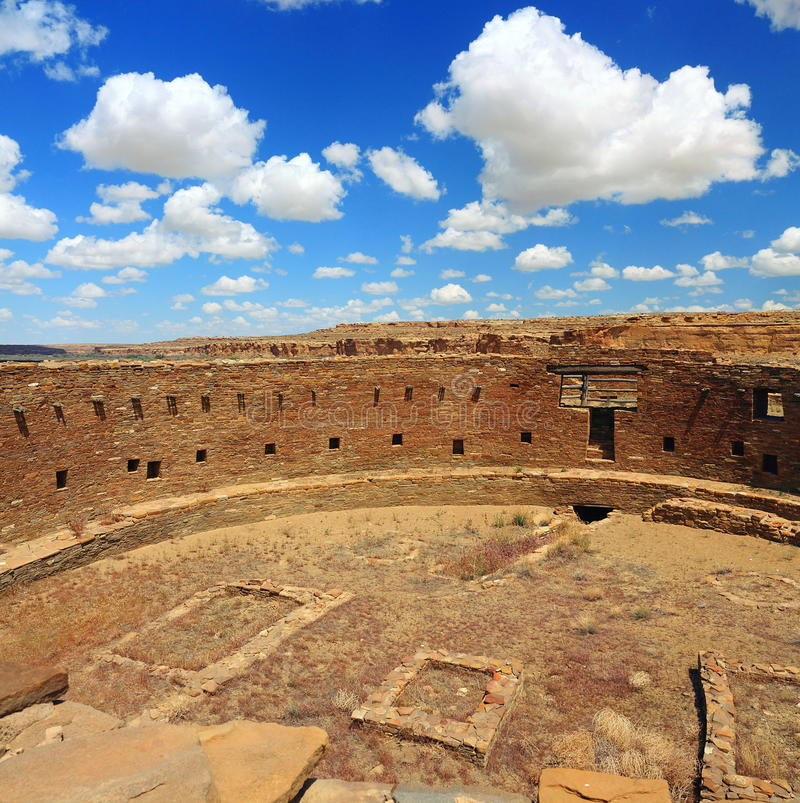 Great Kiva at Casa Rinconada, Chacon Canyon, New Mexico. The Great Kiva at Casa Rinconada in Chaco Canyon National Historical Park in New Mexico is the largest stock photo