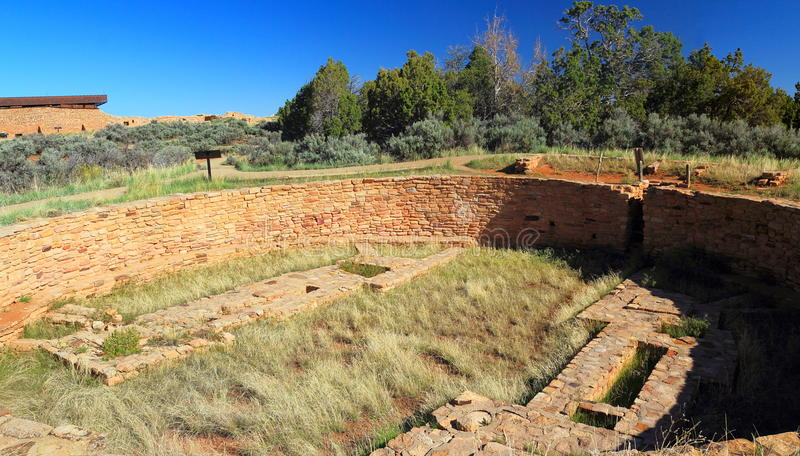 Early Morning Light on Great Kiva at Lowry Pueblo, Canyons of the Ancients National Monument, Colorado, Southwest, United States. Lowry Pueblo National Historic royalty free stock photos