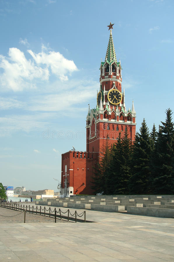 Great Kremlin. Kremlin tower with chime on the red square, Moscow, Russia stock photography