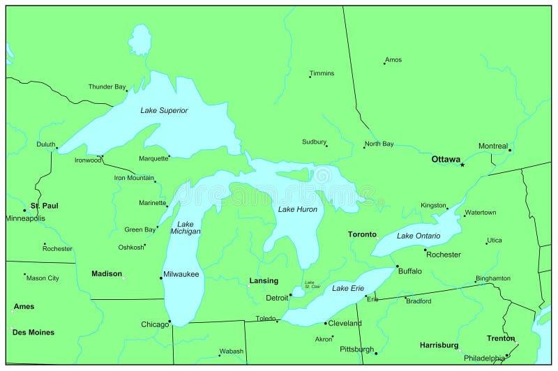 Great Lakes ilustração stock