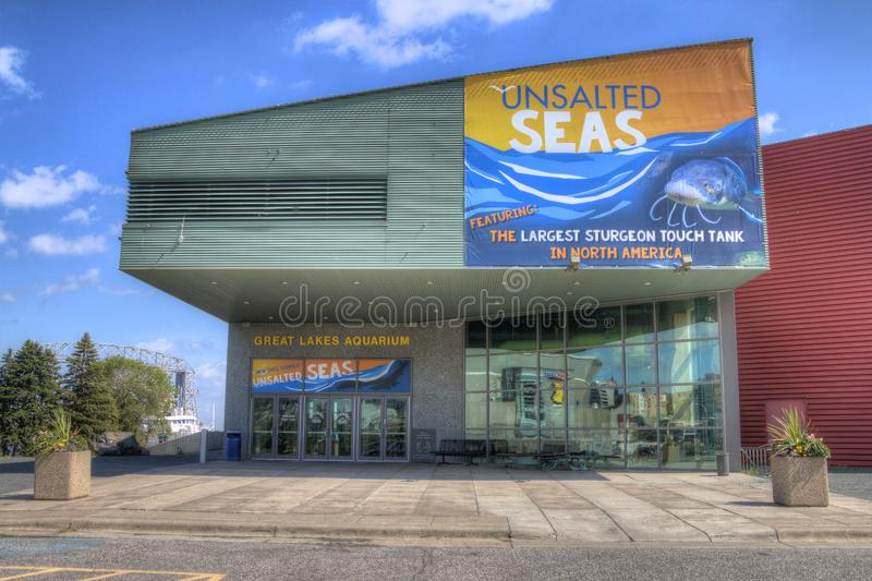 Great Lakes Aquarium in Duluth Minnesota. Great Lakes Aquarium is a popular tourist attraction for vistors and locals in Duluth Minnesota located in Northern stock photo