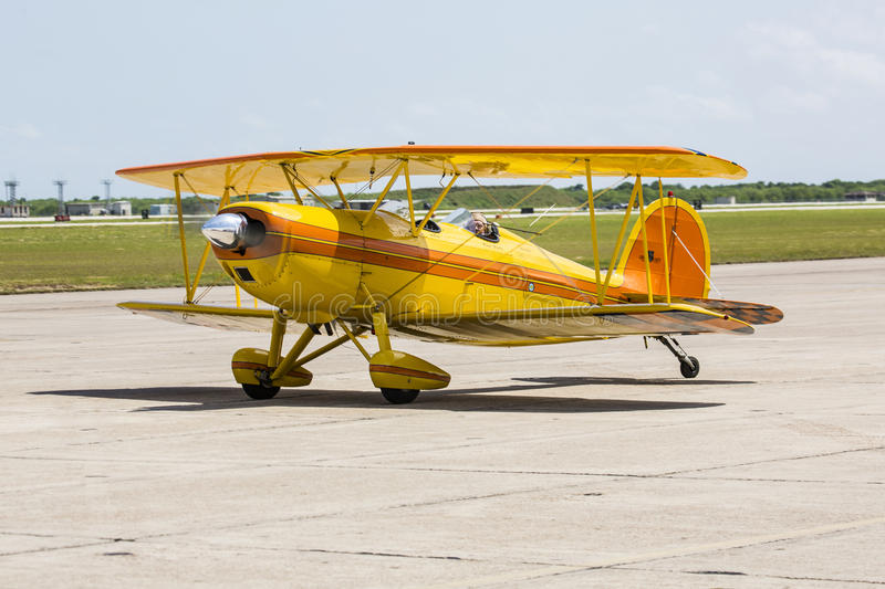 Great Lakes Biplane. On the runway at Wings Over South Texas Air Show, kingsville , Texas stock photos