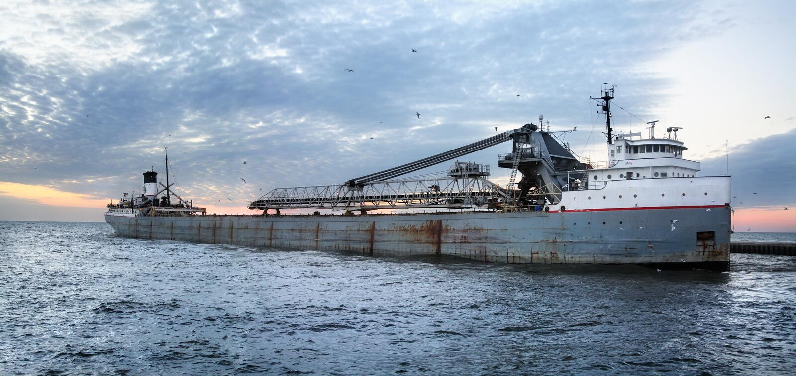 Great Lakes Freighter. Grand Haven Michigan stock photography