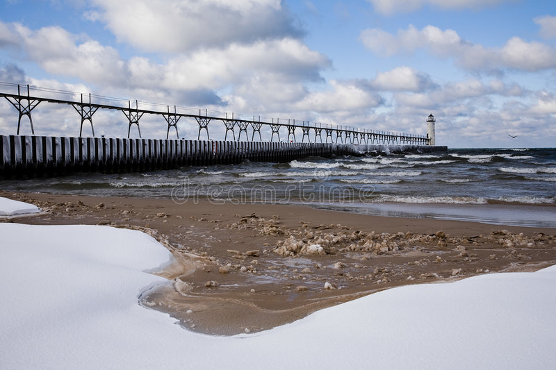 Download Great Lakes Light House In Winter Stock Photo - Image: 7400376