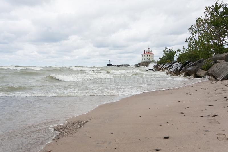 Great Lakes Lighthouse on Stormy Day royalty free stock image