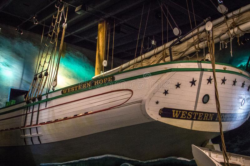 Great Lakes Maritime Heritage Center In Alpena Michigan. Alpena, Michigan, USA - October 11, 2019: Display of a ship caught in a storm at the Great Lakes stock photos