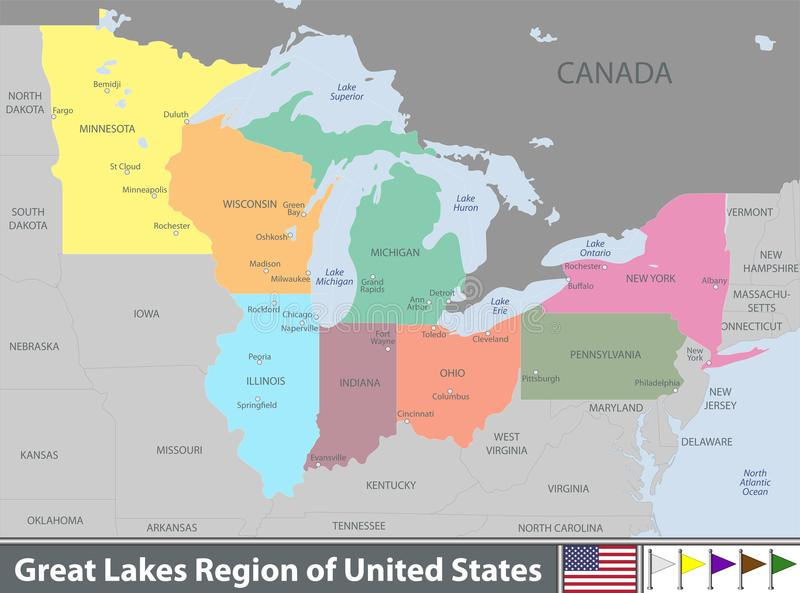 Map of Great Lakes stock vector. Illustration of world ...